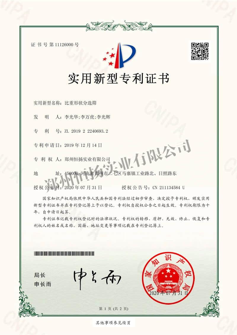 恒扬实业 证书